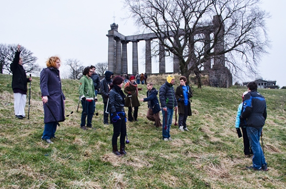 Fire Point rehearsing on Calton Hill by Maciej Doroszkiewicz