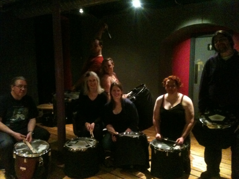 Processional Drummers at a post-Beltane rehearsal session