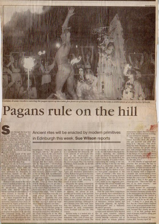 Sunday Times article about Beltane in 1996