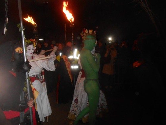 Brad's photo of the May Queen and Green Man passing by during the festival