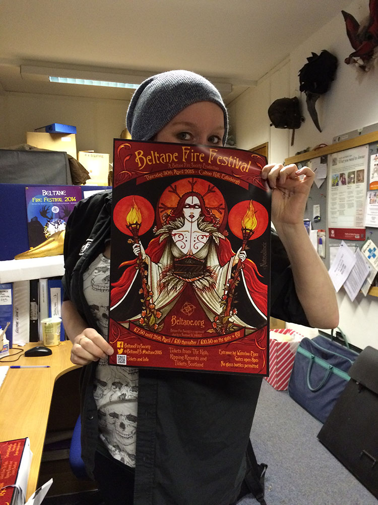 Event Coordinator Sara with the Beltane 2015 poster