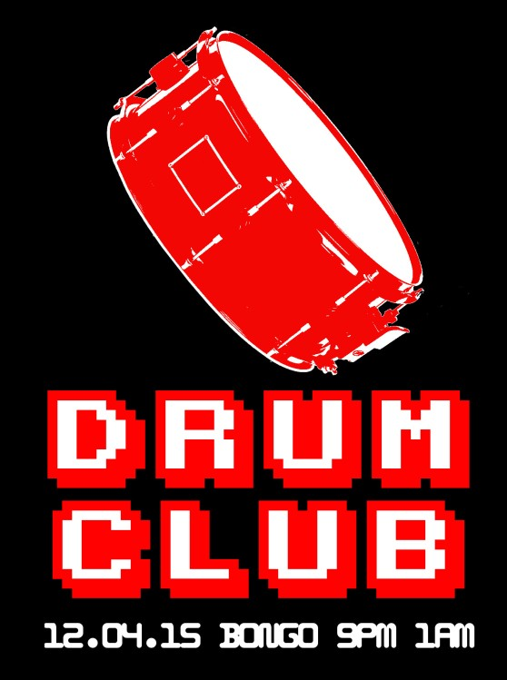 Flyer for Drum Club, 12th April