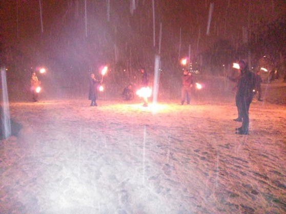 Fire Point rehearse in the snow