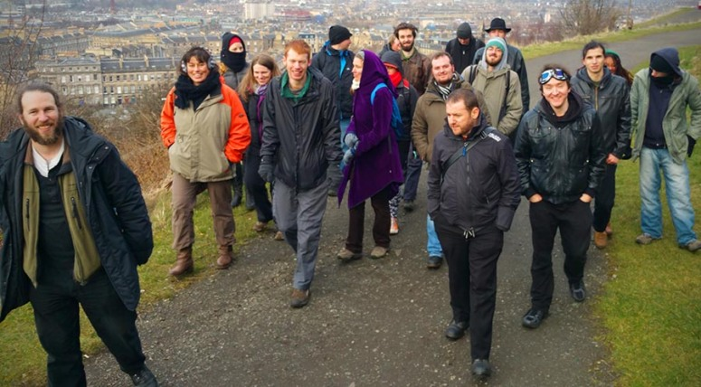 Photograph of the Stewards walking the Beltane processional route around Calton Hill at one of their meetings