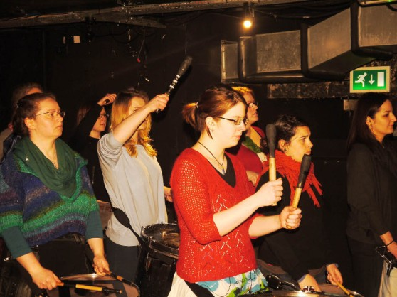 Processional Drummers rehearsing at the Bongo Club, Edinburgh, for Beltane 2015 by Bleu Hope