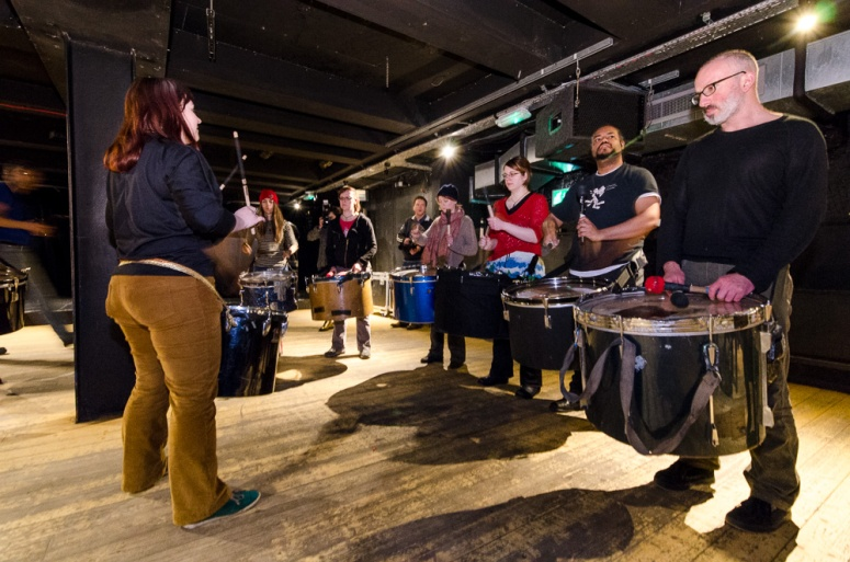Processional Drummers rehearsing at the Bongo Club, Edinburgh, for Beltane 2015 by Gyorgy Papp