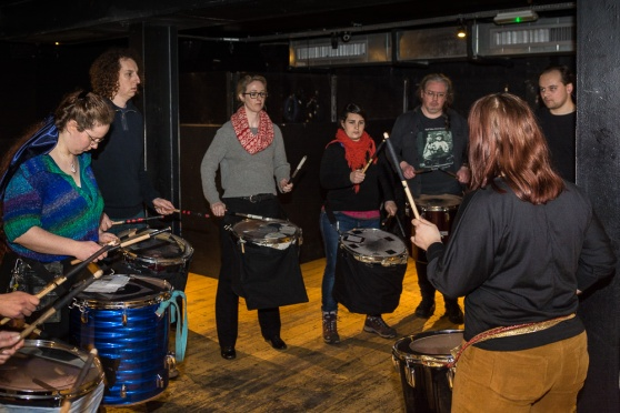 Processional Drummers rehearsing at the Bongo Club, Edinburgh, for Beltane 2015 by James Illing