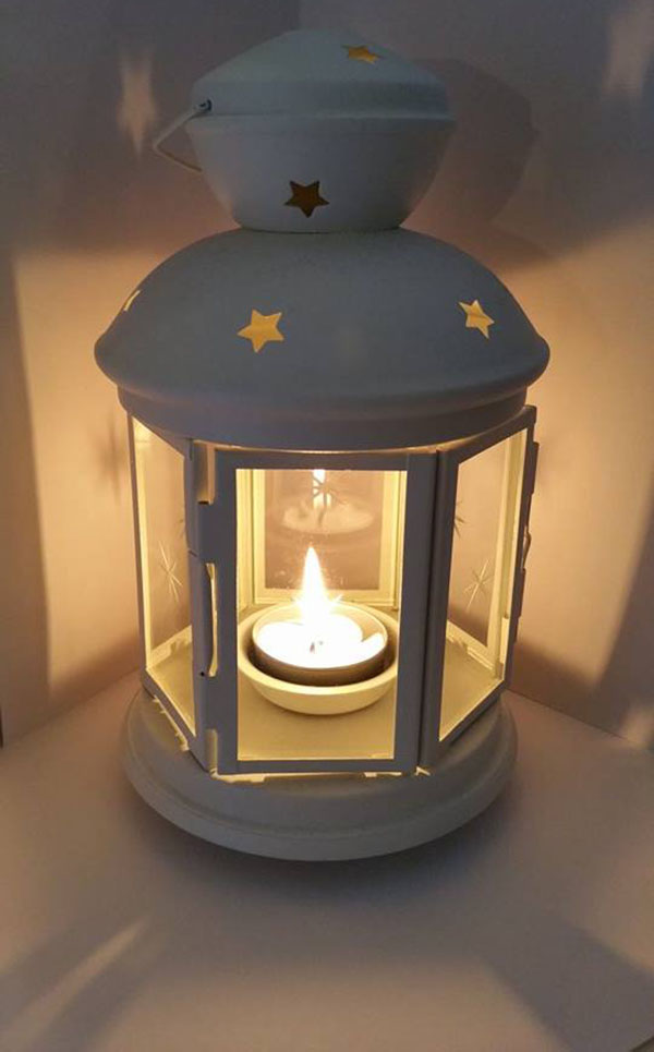 Photo of one of the Whites' candle lanterns