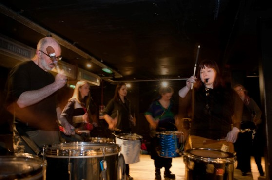 Processional Drummers rehearsing at the Bongo Club, Edinburgh, for Beltane 2015 by Milan Chudjak