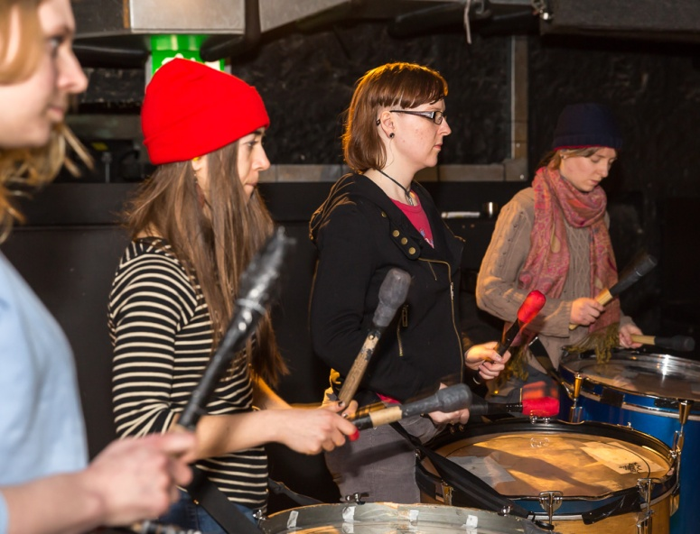 Processional Drummers rehearsing at the Bongo Club, Edinburgh, for Beltane 2015 by Neil Barton