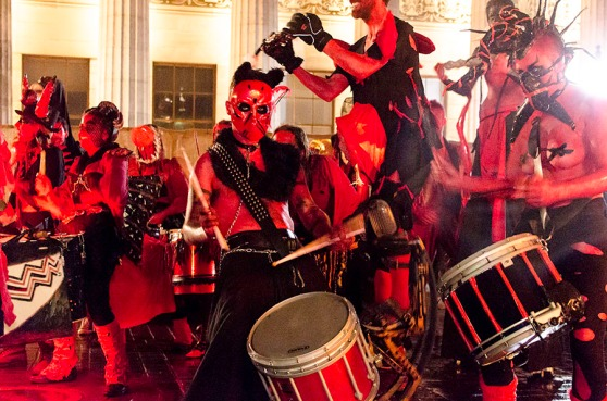 Photo of the Beastie Drummers at Samhuinn 2014 by Gyorgy Papp