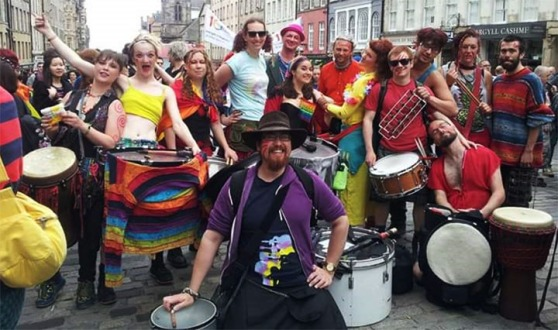 Photograph of the Beastie Drummers at Pride Edinburgh 2015