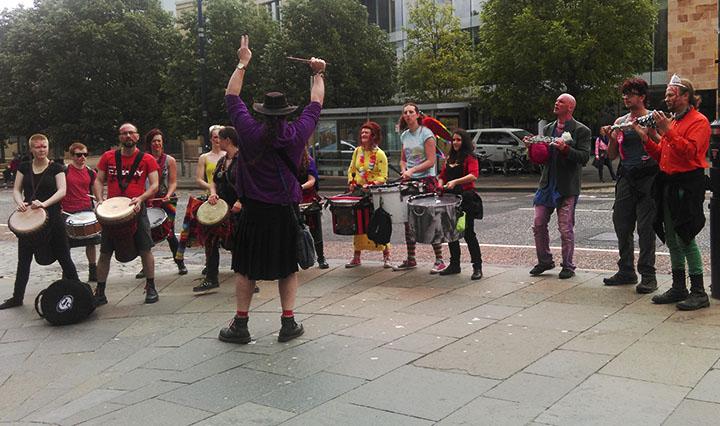 Photograph of the Beastie Drummers at Pride Edinburgh 2015