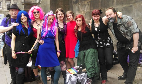 Photograph of the Processional Drummers at Pride Edinburgh 2015