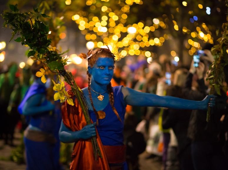 Samhuinn Fire Festival performers in Edinburgh's Grassmarket