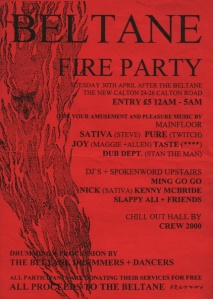 The Beltane 1996 After Party Flyer