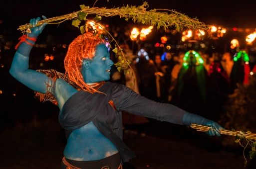 The Blues are the guardians and preservers of the rituals and traditions of our festivals. On the night of Beltane, they open and hold the space in which the May Queen comes to life, serving as guides and protectors of Her procession as She leads the Green Man to his death and rebirth, and the lighting of the Beltane Fire. | Photo by Dan Mosley for Beltane Fire Society.