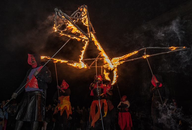 Fire Puppets at Beltane Fire Festival 2017 | Copyright Prem Shah for Beltane Fire Society.