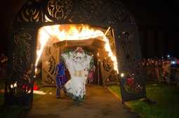 The procession passes through the fire arch, into the underworld, where she begins to gather up energy for the push toward Summer | Beltane Fire Festival 2012 - Photo taken by Raini Scott. Copyright Raini Scott / BFS